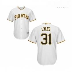 Mens Pittsburgh Pirates 31 Jordan Lyles Replica White Home Cool Base Baseball Jersey