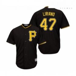 Mens Pittsburgh Pirates 47 Francisco Liriano Replica Black Alternate Cool Base Baseball Jersey