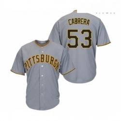 Mens Pittsburgh Pirates 53 Melky Cabrera Replica Grey Road Cool Base Baseball Jersey