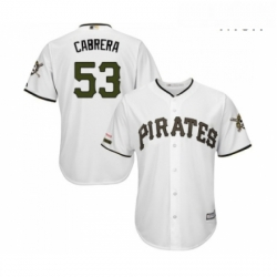 Mens Pittsburgh Pirates 53 Melky Cabrera Replica White Alternate Cool Base Baseball Jersey