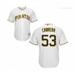 Mens Pittsburgh Pirates 53 Melky Cabrera Replica White Home Cool Base Baseball Jersey