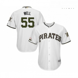 Mens Pittsburgh Pirates 55 Josh Bell Replica White Alternate Cool Base Baseball Jersey