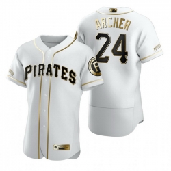 Pittsburgh Pirates 24 Chris Archer White Nike Mens Authentic Golden Edition MLB Jersey