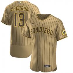 Men Nike San Diego Padres 13 Manny Machado Men Nike Tan Brown Flex Base Alternate Player Jersey