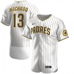 Men Nike San Diego Padres 13 Manny Machado Men Nike White Brown Flex Base Alternate Player Jersey