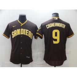 Men Nike San Diego Padres 9 CRONENWORTH Brown Tan Authentic Alternate Player Jersey