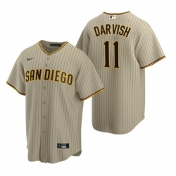 Men San Diego 11 San Diego Padres Yu Darvish Sand Brown Trade Alternate Coolbase Jersey