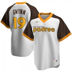 Men San Diego Padres 19 Tony Gwynn San Nike Home Cooperstown Collection Player MLB Jersey White