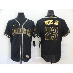 Men San Diego Padres 23 Fernando Tatis Jr  Black Gold Nike Flexbase Jersey