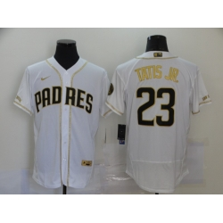 Men San Diego Padres 23 Fernando Tatis Jr  White Gold Nike Flexbase Jersey