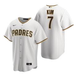 Men San Diego Padres Ha-Seong Kim White Brown Stitched MLB Jersey
