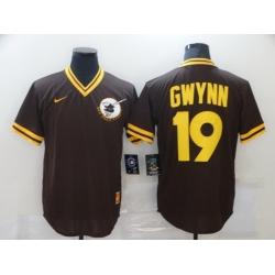 Men San Diego Padres Tony Gwynn 19 Brown MLB Jersey