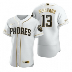 San Diego Padres 13 Manny Machado White Nike Mens Authentic Golden Edition MLB Jersey
