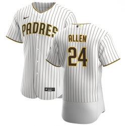 San Diego Padres 24 Greg Allen Men Nike White Brown Home 2020 Authentic Player Jersey