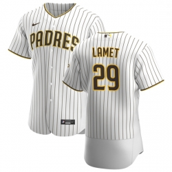 San Diego Padres 29 Dinelson Lamet Men Nike White Brown Home 2020 Authentic Player Jersey