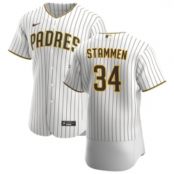 San Diego Padres 34 Craig Stammen Men Nike White Brown Home 2020 Authentic Player Jersey