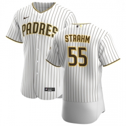 San Diego Padres 55 Matt Strahm Men Nike White Brown Home 2020 Authentic Player Jersey