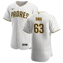 San Diego Padres 63 Jorge Ona Men Nike White Brown Home 2020 Authentic Player Jersey