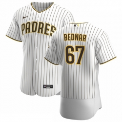 San Diego Padres 67 David Bednar Men Nike White Brown Home 2020 Authentic Player Jersey
