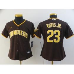 Women Padres 23 Fernando Tatis Jr  Brown Nike Cool Base Jersey