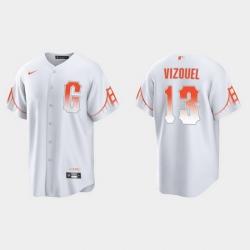 Men San Francisco Giants 13 Omar Vizquel Men 2021 City Connect White Fan Version Jersey