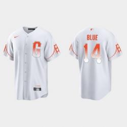 Men San Francisco Giants 14 Vida Blue Men 2021 City Connect White Fan Version Jersey
