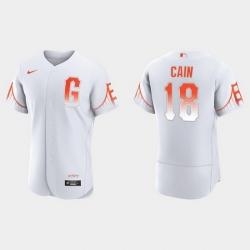 Men San Francisco Giants 18 Matt Cain Men 2021 City Connect Authentic White Jersey