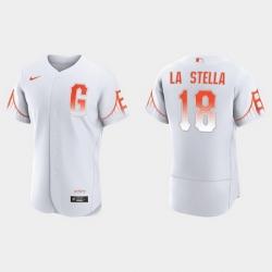 Men San Francisco Giants 18 Tommy La Stella Men 2021 City Connect Authentic White Jersey