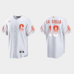 Men San Francisco Giants 18 Tommy La Stella Men 2021 City Connect White Fan Version Jersey