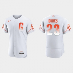 Men San Francisco Giants 23 Ellis Burks Men 2021 City Connect Authentic White Jersey