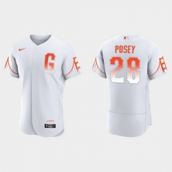 Men San Francisco Giants 28 Buster Posey Men 2021 City Connect Authentic White Jersey