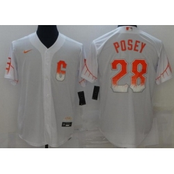 Men San Francisco Giants 28 Buster Posey White 2021 City Connect Stitched MLB Cool Base Nike Jersey