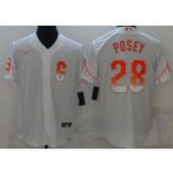 Men San Francisco Giants 28 Buster Posey White 2021 City Connect Stitched MLB Flex Base Nike Jersey