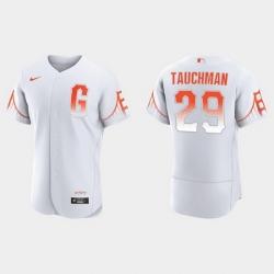 Men San Francisco Giants 29 Mike Tauchman Men 2021 City Connect Authentic White Jersey