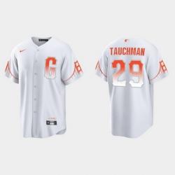 Men San Francisco Giants 29 Mike Tauchman Men 2021 City Connect White Fan Version Jersey