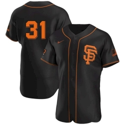 Men San Francisco Giants 31 LaMonte Wade Jr Black 2021 Alternate Jersey