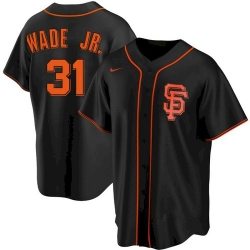 Men San Francisco Giants 31 LaMonte Wade Jr Black Replica Alternate Jersey