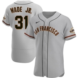 Men San Francisco Giants 31 LaMonte Wade Jr Grey 2021 Road Player Jersey