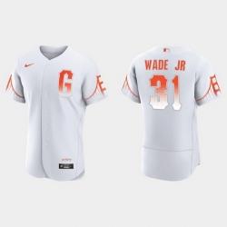 Men San Francisco Giants 31 Lamonte Wade Jr  Men 2021 City Connect Authentic White Jersey