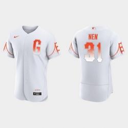 Men San Francisco Giants 31 Robb Nen Men 2021 City Connect Authentic White Jersey