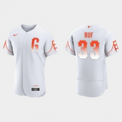 Men San Francisco Giants 33 Darin Ruf Men 2021 City Connect Authentic White Jersey