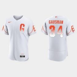 Men San Francisco Giants 34 Kevin Gausman Men 2021 City Connect Authentic White Jersey
