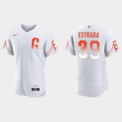 Men San Francisco Giants 39 Thairo Estrada Men 2021 City Connect Authentic White Jersey