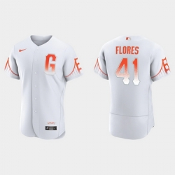 Men San Francisco Giants 41 Wilmer Flores Men 2021 City Connect Authentic White Jersey