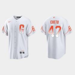 Men San Francisco Giants 47 Johnny Cueto Men 2021 City Connect White Fan Version Jersey