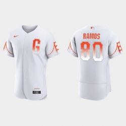 Men San Francisco Giants 80 Heliot Ramos Men 2021 City Connect Authentic White Jersey