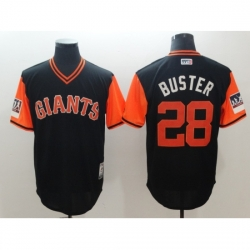 Men's San Francisco Giants #28 Buster Posey Black Alternate Stitched Baseball Jersey