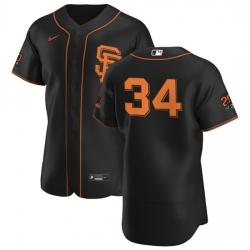 San Francisco Giants 34 Kevin Gausman Men Nike Black Alternate 2020 Authentic 20 at 24 Patch Player MLB Jersey