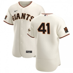 San Francisco Giants 41 Wilmer Flores Men Nike Cream Home 2020 Authentic 20 at 24 Patch Player MLB Jersey