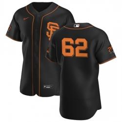 San Francisco Giants 62 Logan Webb Men Nike Black Alternate 2020 Authentic 20 at 24 Patch Player MLB Jersey